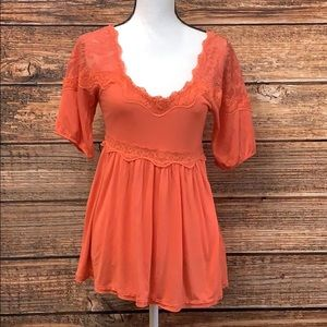 Free People Flowy Orange Top